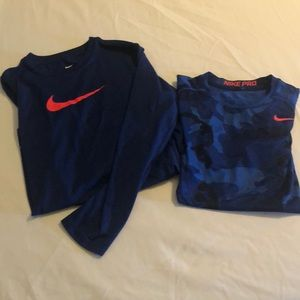 2 boys, Nike, dry fit shirts.